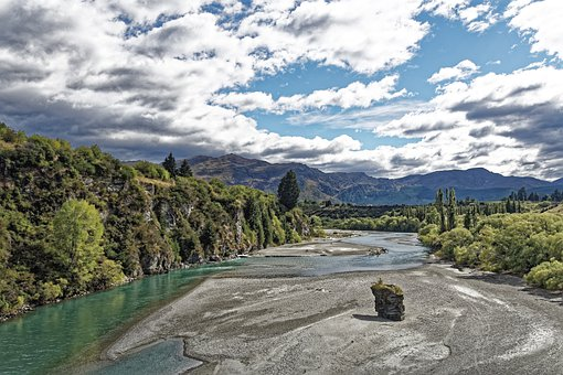 New Zealand, Shot Over River, River, Water, Mountains