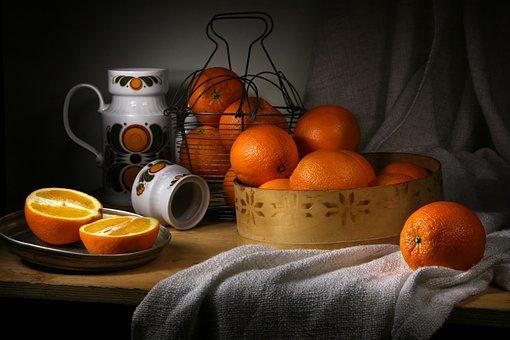 Orange, Still Life With Oranges, Vitamins, Nutrition