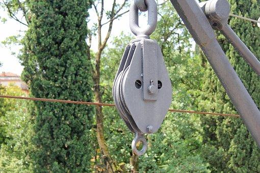 Pulley, Crane, Grey, Steel, Construction, Hoisting