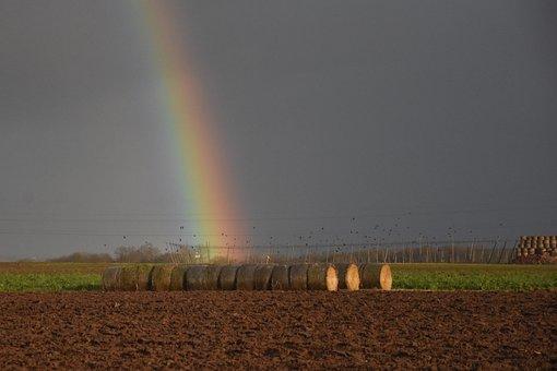 Rainbow, Straw Bales, Nature