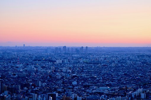 Mega City, Good Evening, Sunset, City View, Panorama