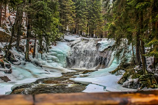 Waterfall, Water, Ice, Snow, Bridge, Nature, Landscape