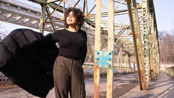 Bridge, Standing, Coat, Movement, People, Portrait