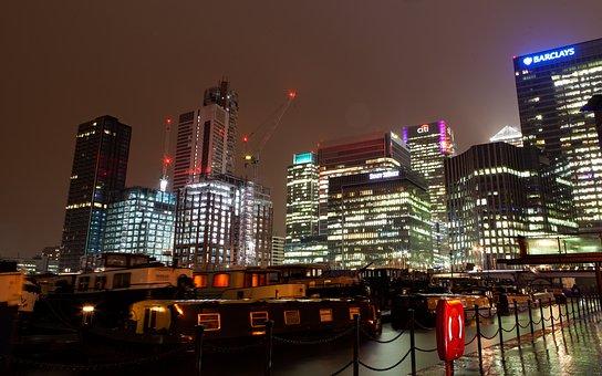 Canary Wharf At Night, Cityscape, Canary Wharf, London