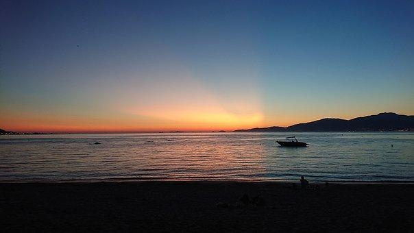 Sunset, Phenomenon, Corsica, Beach