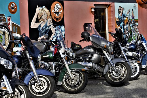 Choppers, Harley, Davidson, Wall, Art, Colorful, Bikers
