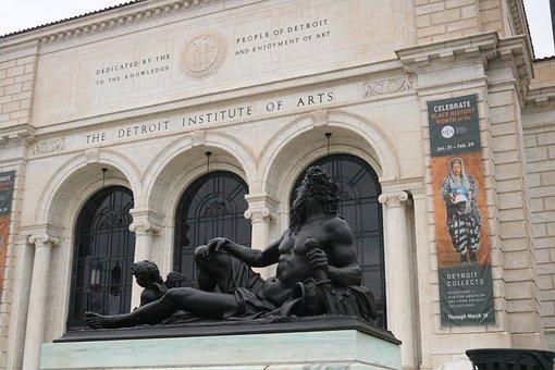 Detroit Institute Of Arts, Detroit, Statue, Art Museum