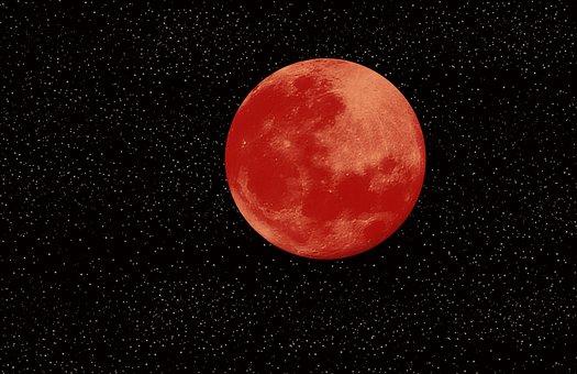Blood Moon, Full Moon, Moon, Moonlight