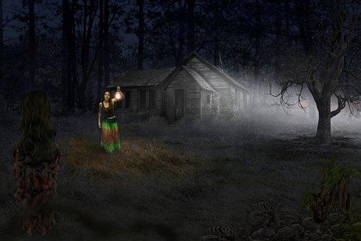 Ghost, Horror, Dark, Spooky, House, Night, Girl
