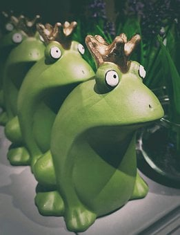 Frogs, Ceramic, Figures, Green, Fun