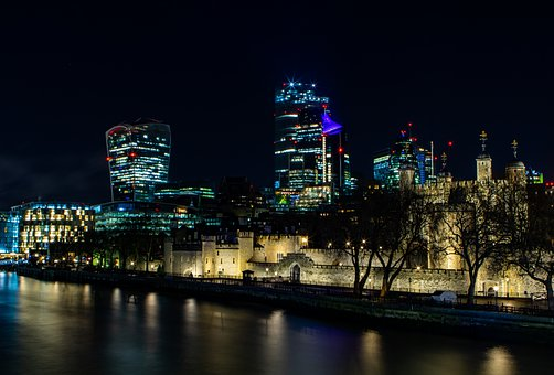 Thames, London, Night, Cityscape, Tower Of London
