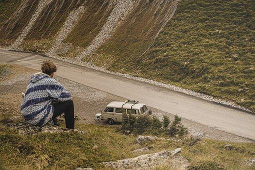 Van, Car, Nature, Brown, Automotive, Old School
