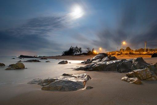 Nightscape, Landscape, Night, Sky, Coast, Nightlife
