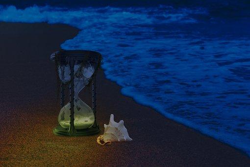 Fantasy, Photoshop, Ocean, Hourglass, Shell, Sand