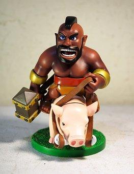 Hog, Rider, Toy, Figurine, Small, Cute, Plastic