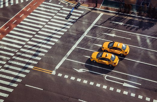 Junction, Taxi, Crosswalk, Roadway