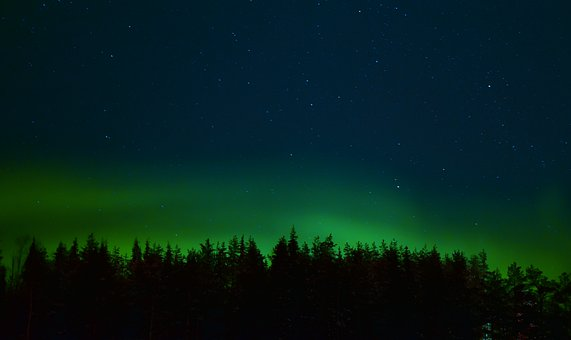 Aurora, Polar Lights, Sky, Stars, Night