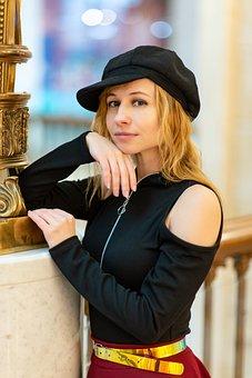 Portrait, Girl, Cap, Headdress, Fashion, Style