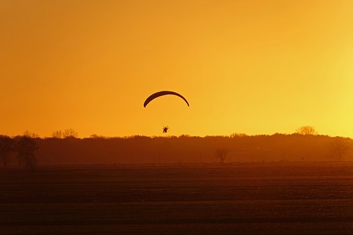 Paramotor, Gliding, Sunset, Evening, Air Sports, Glider