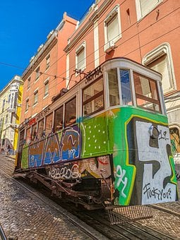 Lisbon, Tram, Portugal, Transport, Travel, Architecture
