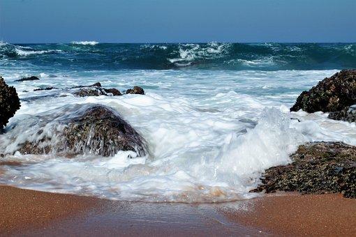 Waves, Blue, Sea, Ocean, Beach