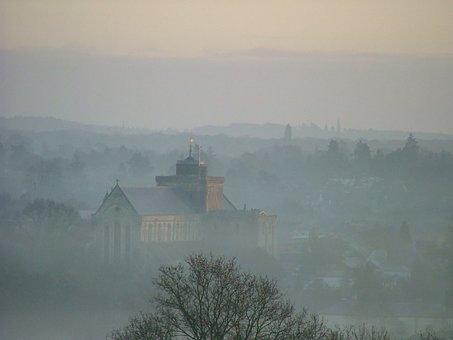 Abbey, Church, Sunrise, View, Dawn, Nature, Sky, Mist