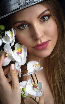 Girl, Beauty, Eyes, Flowers, Lilies, Woman, Portrait