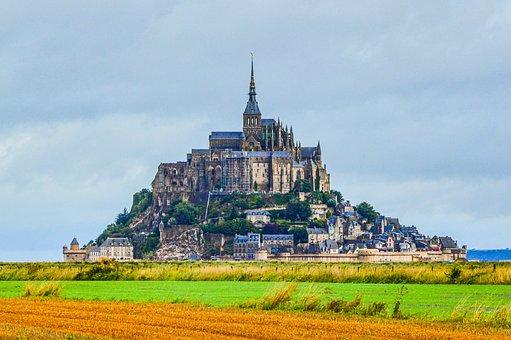 Le-mont-saint-michel, France, Castle, Fortress