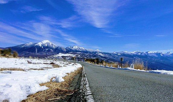 Mountain, Mt, Field, Winter, Highway, Snow Thaw