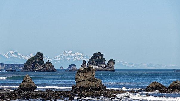 New Zealand, Tasman Sea, Sea, Water, Coast