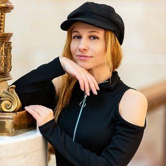 Portrait, Hands, Smile, Girl, Woman, Cap, Hat