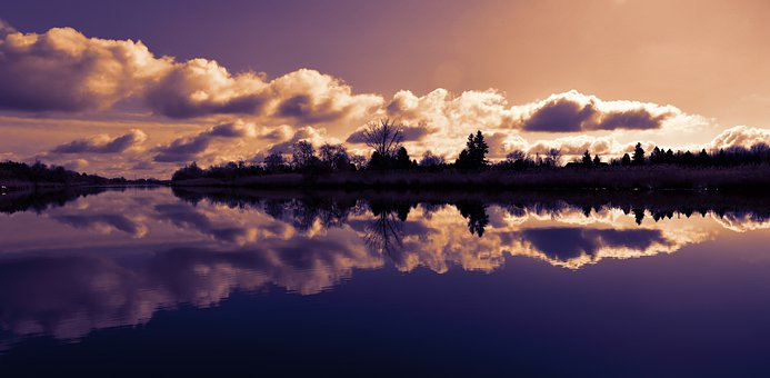 In The Evening, Dusk, Reflection, Hungary, Oxbow