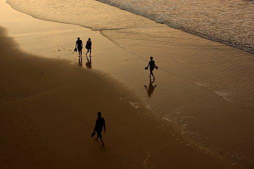Beach, Sea, Sunset, San Sebastian, Spain