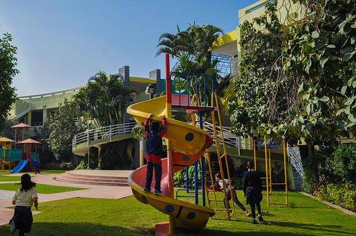 School, Slide, Children, Students, Abacus, Playground