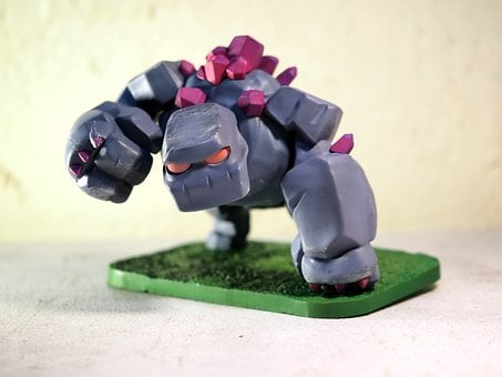 Rock, Golem, Mobile, Online, Game, Character, Toy