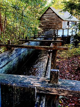 Grist Mill, Water Wheel, Waterwheel, Mill, Historic