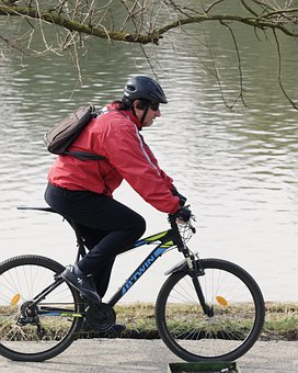 Bike, While Riding, Park, Nature, Lake, Water, Winter