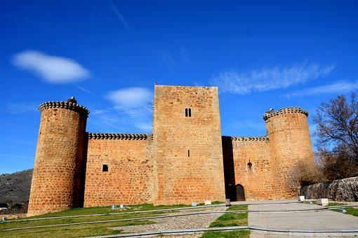 Castle, Sky, Clouds, Storks, Landscape, Architecture