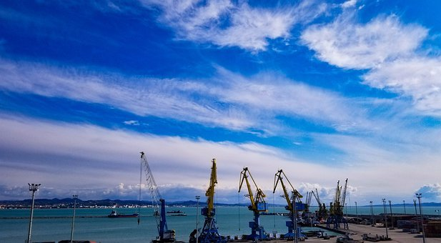 Albania, Harbour, Ships, Cranes, Sea