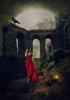 Woman, Red Dress, Ruins, Dress, Girl, Female, Castle