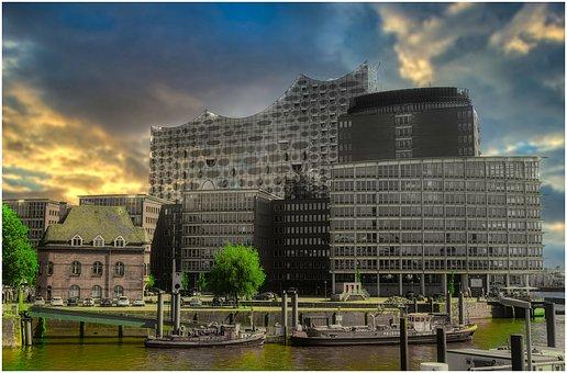 Elbe Philharmonic Hall, Hamburg, Port, Ships, Elbe