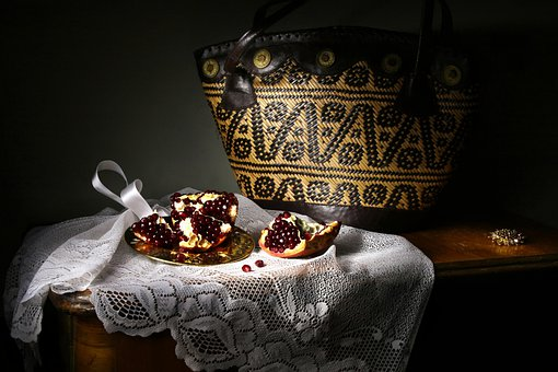 Still Life With Pomegranate And Bag