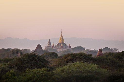 Sunset, Bagan, Burma, Pagoda, Temple, Bricks, Antique