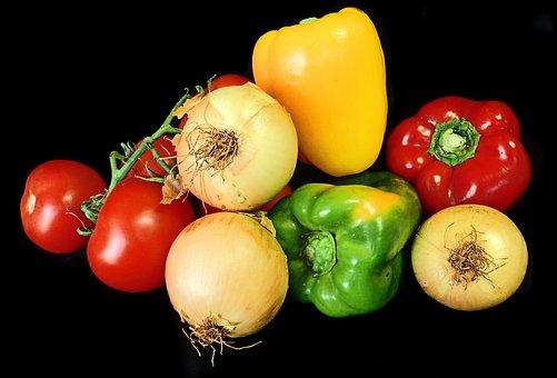 Vegetables, Capsicum, Tomatoes, Onions