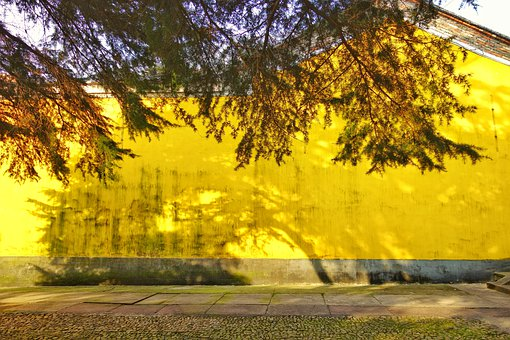 Yellow, Wall, Monastery, Shadows