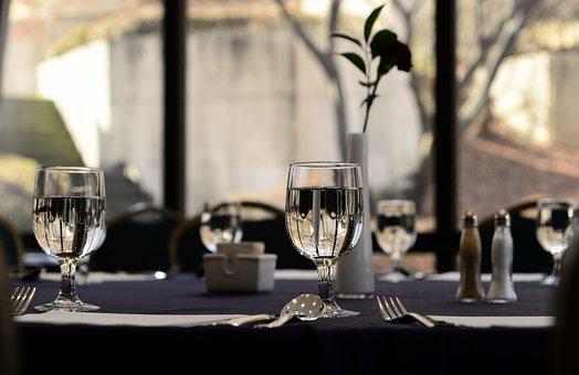 Hotel, Table, Glass, Water Glass, Board, Restaurant