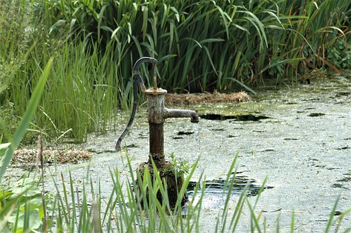 Water, Pump, Reeds, Green, Metal, Pond