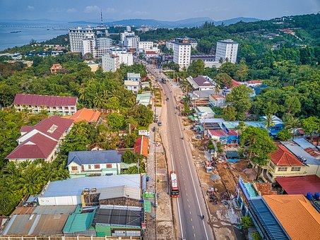 Vietnam, City, View, Sky, Water