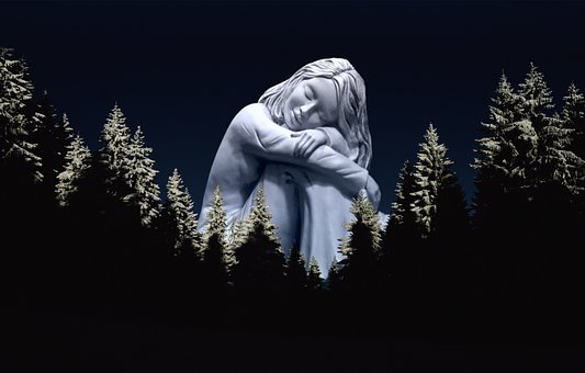 Woman, Girl, Little Girl, Statue, Marble, Forest, Night