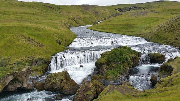 Iceland, Waterfall, Creek, Water, Bach